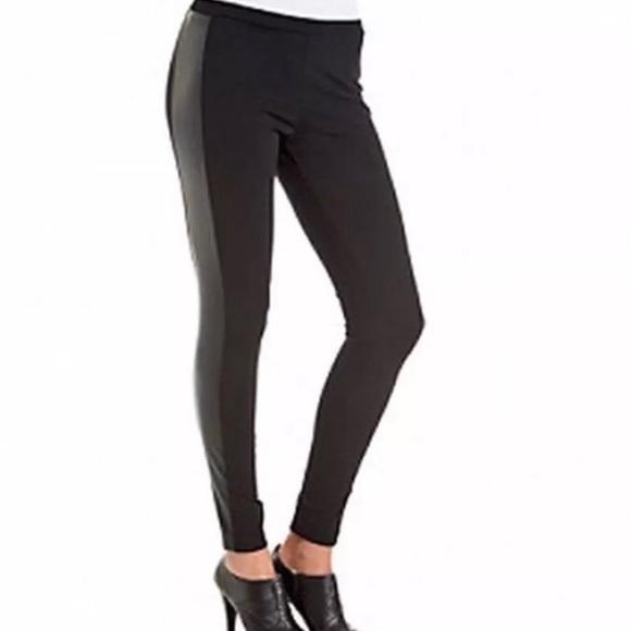 e0220393d8622 Vince Camuto leather panel black leggings. M_5a903df331a376990fbffacc